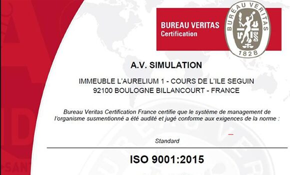 AVSimulation maintient la certification ISO 9001