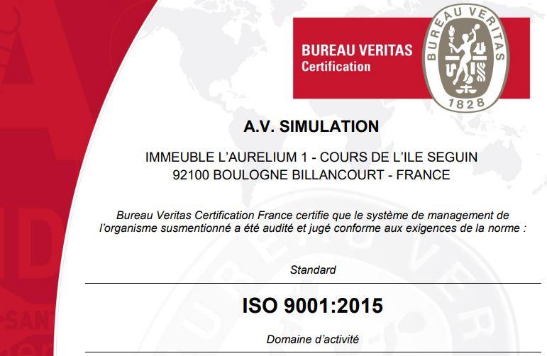 AVSimulation obtient la certification ISO 9001